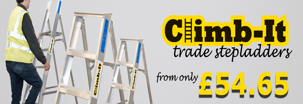 Climb-it Trade step ladders Available at at Premier Storage