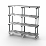 Aluminium Shelving - 1500mm Long - Double Bay