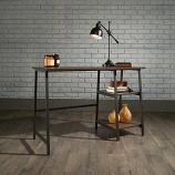 Industrial Style Bench Desk - Smoked Oak