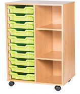 10 High 10 Tray Double Mobile Unit With Shelves
