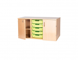 5 Shallow Tray Static Triple With Shelf & Doors