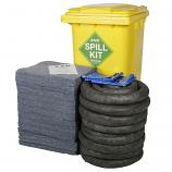 200 Litre Universal EVO Spill Kit in Yellow Wheelie Bin