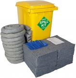 360 Litre Universal EVO Spill Kit in Yellow Wheelie Bin