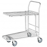 Stock Trolley with Folding Flat/Basket Top Shelf