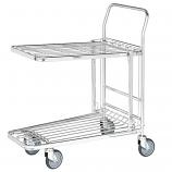 Stock Trolley with Folding Flat/Basket Top Shelf