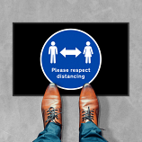 Please Respect Social Distancing Floor Mats - 600 x 950 mm (Pack of 2)