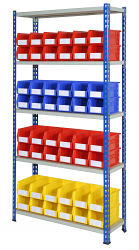 Anco Rivet Shelving Bays with Storage Bins