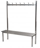 Stainless Steel Changing Room Bench and Coat Hooks