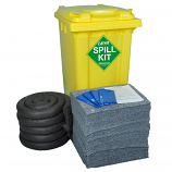 150 Litre EVO Universal Spill Kit in Yellow Wheelie Bin