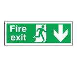 Fire Exit - Down Arrow Sign