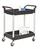 Proplaz Plus 3 Tray Plastic Shelf Tray Trolley with Buckets