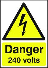 Danger 240 Volts Sign