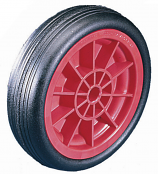 Black Solid Rubber Tyred Wheels with Red Polypropylene Centres