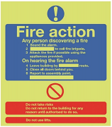 Fire Action Instructions Photoluminescent Sign