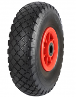Black Pneumatic Tyred Wheels with Red Polypropylene Centres