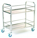 Stainless Steel Trolley - 2 Shelf with Rod Surround