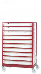Mobile Tray Racks Complete with 10 Polypropylene Trays
