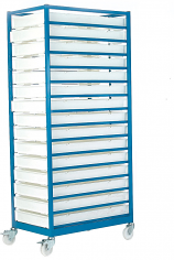 Mobile Tray Racks Complete with 15 Polypropylene Trays