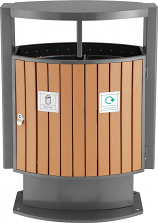 Plastic Wood Effect Bin - Two Compartments