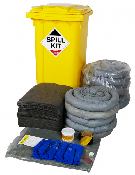 General Purpose Spill Kit in Wheeled Bin 250Litres