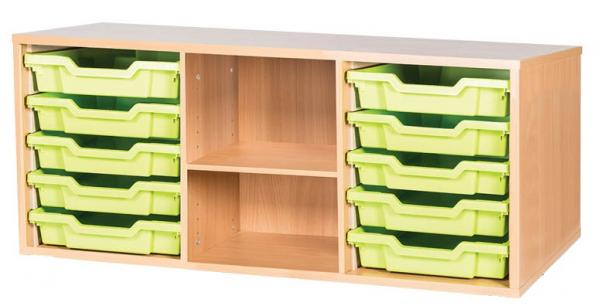10 Shallow Tray Triple With Shelf Static Unit - 533mm High