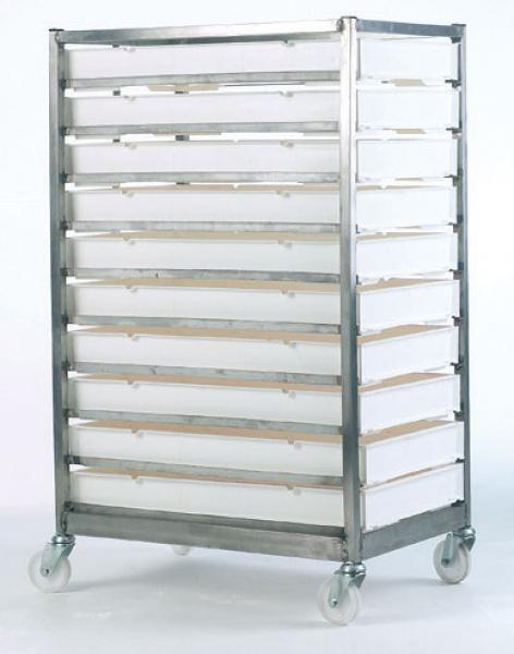 Stainless Steel Mobile Tray Racks C/with 15 Polypropylene Trays