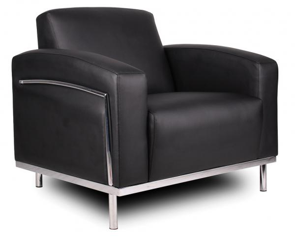 Single Bonded Leather Sofa (Moonstone) (MS1/BL/BLK)