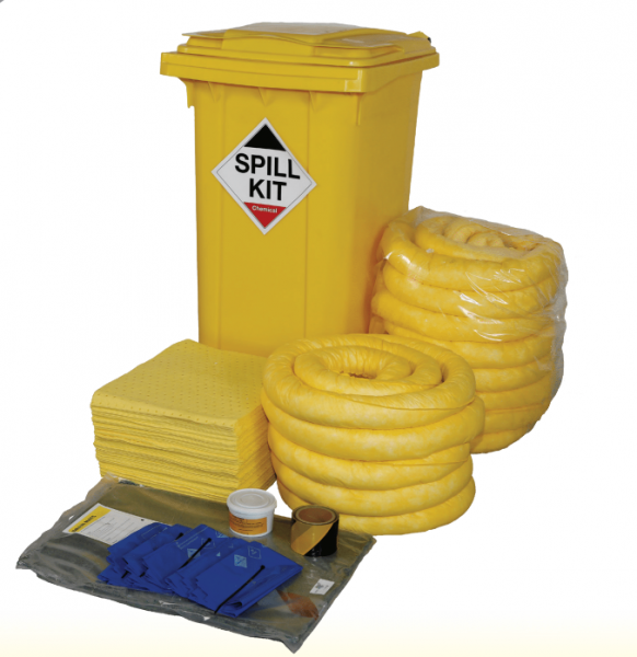 Chemical Spill Kit in Wheeled Bin 250Litres