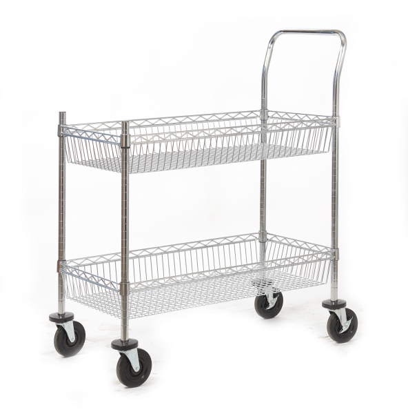 Chrome Plated Wire Tray Trolley