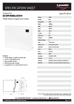 Levante 500W Eco Slimeline Digital Panel Heater - 24 Hour Timer